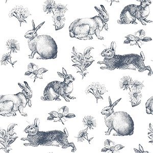 A Perfect World Navy Bunny Toile Wallpaper