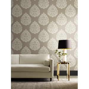 Ronald Redding 24 Karat Beige Teardrop Damask Wallpaper