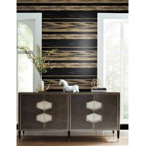 Ronald Redding 24 Karat Black and Gold Horizontal Dry Brush Wallpaper