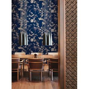 Ronald Redding 24 Karat Blue Bird And Blossom Chinoserie Wallpaper