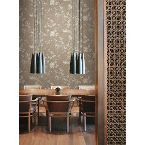 Ronald Redding 24 Karat Brown Bird And Blossom Chinoserie Wallpaper