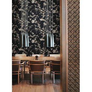Ronald Redding 24 Karat Black Bird And Blossom Chinoserie Wallpaper