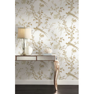 Ronald Redding 24 Karat White and Gold Bird And Blossom Chinoserie Wallpaper