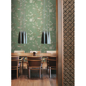 Ronald Redding 24 Karat Green Bird And Blossom Chinoserie Wallpaper