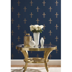 Ronald Redding 24 Karat Navy and Gold Fleur De Lis Wallpaper