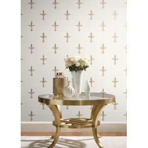 Ronald Redding 24 Karat White and Gold Fleur De Lis Wallpaper