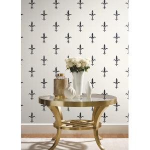 Ronald Redding 24 Karat White and Black Fleur De Lis Wallpaper