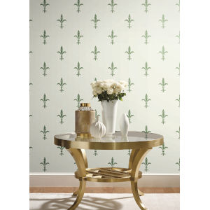 Ronald Redding 24 Karat White and Green Fleur De Lis Wallpaper