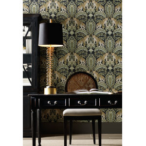 Ronald Redding 24 Karat Black and Green Jungle Leopard Wallpaper