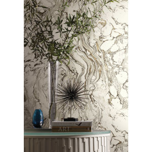 Ronald Redding 24 Karat Black and White Polished Marble Wallpaper