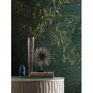Ronald Redding 24 Karat Green Polished Marble Wallpaper
