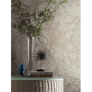 Ronald Redding 24 Karat Taupe Polished Marble Wallpaper