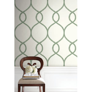 Ronald Redding 24 Karat Green Laurel Leaf Ogee Wallpaper