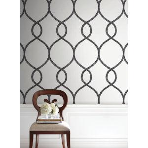Ronald Redding 24 Karat Black Laurel Leaf Ogee Wallpaper