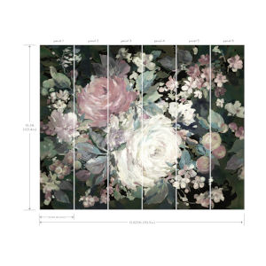 Mural Resource Library Pink and Black Impressionist Floral Wallpaper