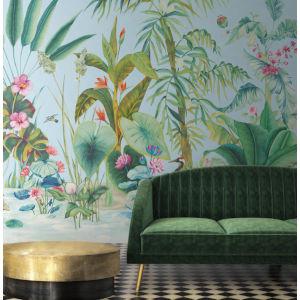 Mural Resource Library Blue Tropical Panoramic Wallpaper