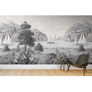 Mural Resource Library Gray and White Safe Harbor Wallpaper