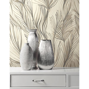 Candice Olson Botanical Dreams Dark Gray Peaceful Plume Wallpaper