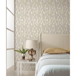 Candice Olson Botanical Dreams Gray Stained Glass Wallpaper