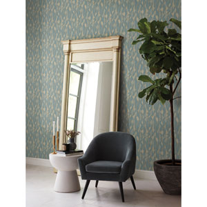 Candice Olson Botanical Dreams Blue Stained Glass Wallpaper