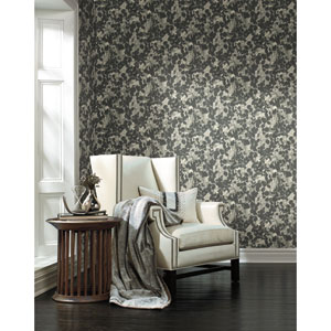 Candice Olson Botanical Dreams Dark Gray Pressed Leaves Wallpaper