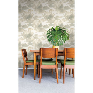 Candice Olson Botanical Dreams Gray Water Lily Wallpaper
