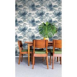 Candice Olson Botanical Dreams Dark Blue Water Lily Wallpaper