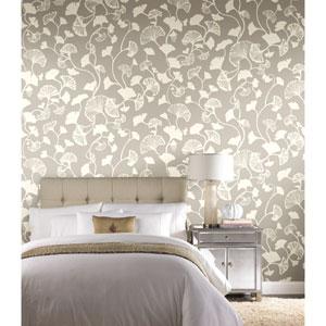 Candice Olson Botanical Dreams Silver Gingko Trail Wallpaper