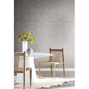 Antonina Vella Elegant Earth Charcoal Squareburst Geometric Wallpaper