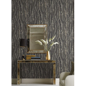 Antonina Vella Elegant Earth Black Native Leaves Bohemian Wallpaper