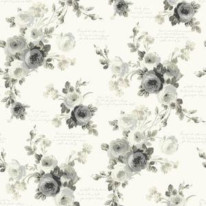 Magnolia Home Gray and White Heirloom Rose Peel and Stick Wallpaper