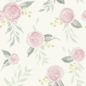 Magnolia Home Pink Watercolor Rose Peel and Stick Wallpaper