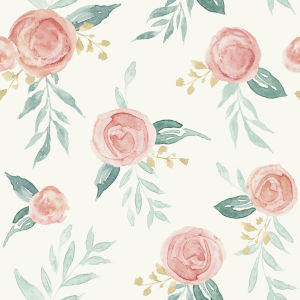 Magnolia Home Red Watercolor Rose Peel and Stick Wallpaper