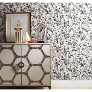 Botany Vines Gray Peel and Stick Wallpaper