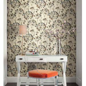 Simply Candice Teal Flourish Peel and Stick Wallpaper