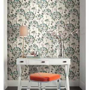 Simply Candice Turquoise Flourish Peel and Stick Wallpaper