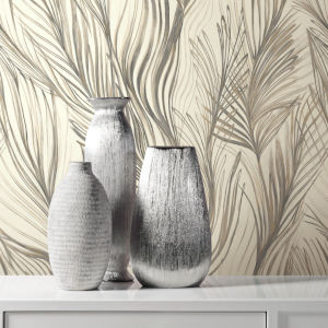 Simply Candice Charcoal Gold Peaceful Plume Peel and Stick Wallpaper