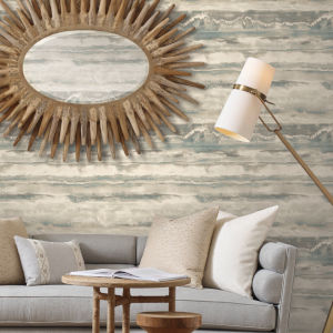 Simply Candice Taupe Blue High Tide Peel and Stick Wallpaper