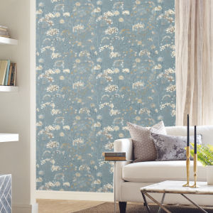 Simply Candice Blue Beige Botanical Fantasy Peel and Stick Wallpaper