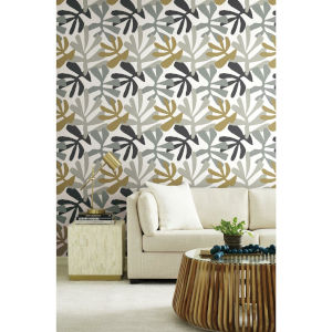 Risky Business III Black Gray Kinetic Tropical Peel and Stick Wallpaper