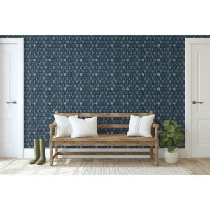 Rifle Paper Co. Navy and Gold Hawthorne Wallpaper