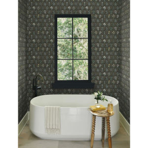 Rifle Paper Co. Black and Cream Hawthorne Wallpaper