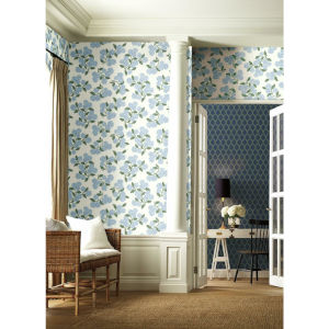 Rifle Paper Co. Blue and White Hydrangea Wallpaper