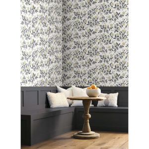 Rifle Paper Co. White and Black Peonies Wallpaper