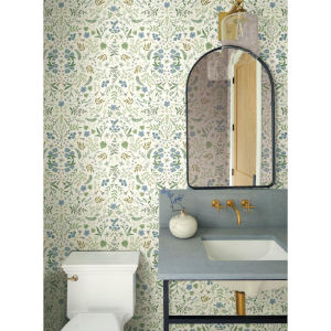 Rifle Paper Co. Blue and Green Wildwood Wallpaper