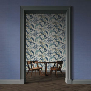 Rifle Paper Co. Blue Palette Grasscloth Wallpaper