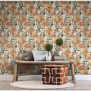 Orange Aztec Peel and Stick Wallpaper