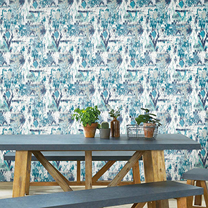Blue Aztec Peel and Stick Wallpaper