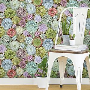 Green Succulents Peel and Stick Wallpaper