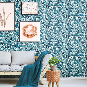 Blue Palm Peel and Stick Wallpaper